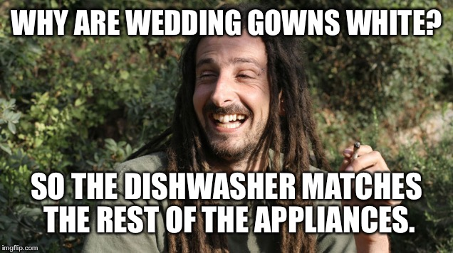 WHY ARE WEDDING GOWNS WHITE? SO THE DISHWASHER MATCHES THE REST OF THE APPLIANCES. | made w/ Imgflip meme maker