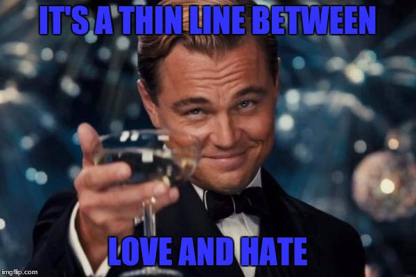 Leonardo Dicaprio Cheers Meme | IT'S A THIN LINE BETWEEN LOVE AND HATE | image tagged in memes,leonardo dicaprio cheers | made w/ Imgflip meme maker