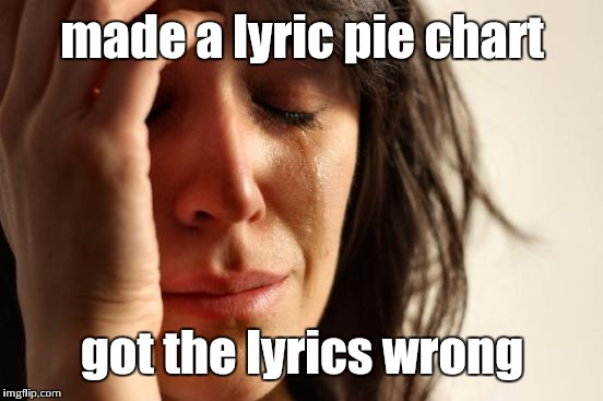 First World Problems Meme | made a lyric pie chart got the lyrics wrong | image tagged in memes,first world problems | made w/ Imgflip meme maker