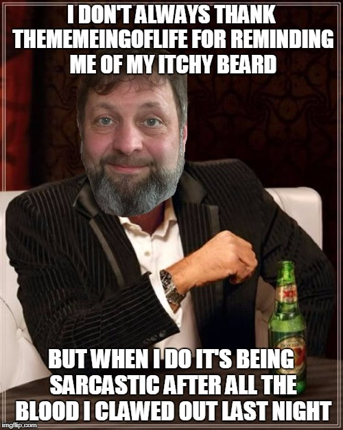 I DON'T ALWAYS THANK THEMEMEINGOFLIFE FOR REMINDING ME OF MY ITCHY BEARD BUT WHEN I DO IT'S BEING SARCASTIC AFTER ALL THE BLOOD I CLAWED OUT | made w/ Imgflip meme maker