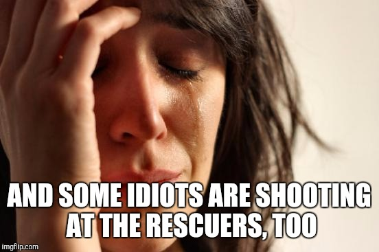 First World Problems Meme | AND SOME IDIOTS ARE SHOOTING AT THE RESCUERS, TOO | image tagged in memes,first world problems | made w/ Imgflip meme maker