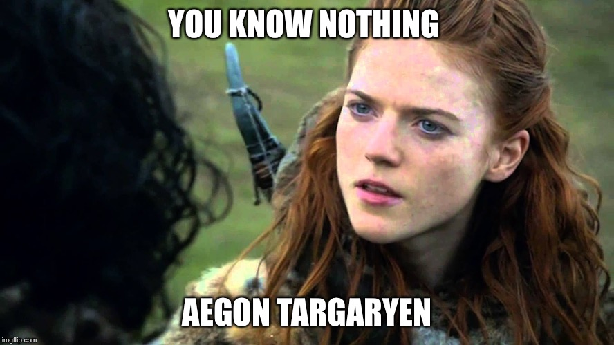 YOU KNOW NOTHING AEGON TARGARYEN | image tagged in you know nothing jon snow | made w/ Imgflip meme maker
