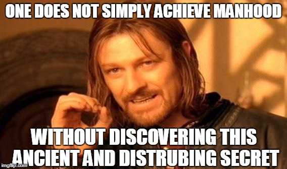 One Does Not Simply Meme | ONE DOES NOT SIMPLY ACHIEVE MANHOOD WITHOUT DISCOVERING THIS ANCIENT AND DISTRUBING SECRET | image tagged in memes,one does not simply | made w/ Imgflip meme maker