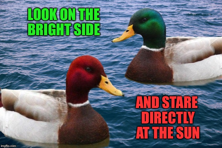 Good Malicious Advice Ducks | LOOK ON THE BRIGHT SIDE AND STARE DIRECTLY AT THE SUN | image tagged in good malicious advice ducks | made w/ Imgflip meme maker