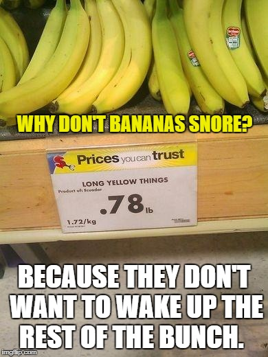 bananas | WHY DON'T BANANAS SNORE? BECAUSE THEY DON'T WANT TO WAKE UP THE REST OF THE BUNCH. | image tagged in bananas | made w/ Imgflip meme maker