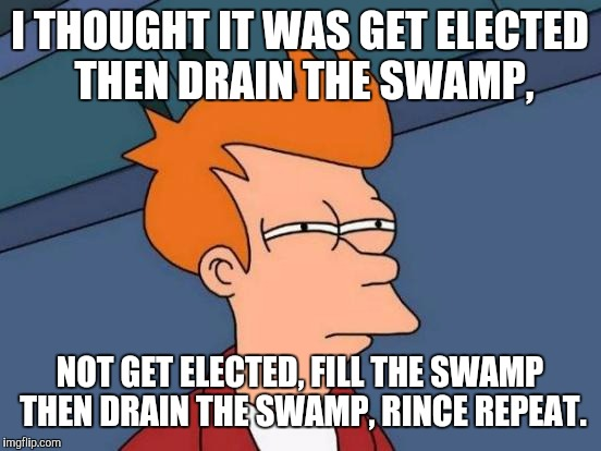 Futurama Fry Meme | I THOUGHT IT WAS GET ELECTED THEN DRAIN THE SWAMP, NOT GET ELECTED, FILL THE SWAMP THEN DRAIN THE SWAMP, RINCE REPEAT. | image tagged in memes,futurama fry | made w/ Imgflip meme maker