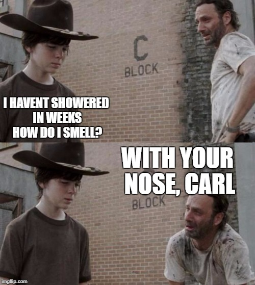 *Sniff* | I HAVENT SHOWERED IN WEEKS HOW DO I SMELL? WITH YOUR NOSE, CARL | image tagged in memes,rick and carl | made w/ Imgflip meme maker