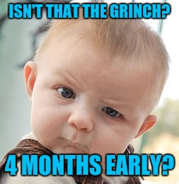 Skeptical Baby Meme | ISN'T THAT THE GRINCH? 4 MONTHS EARLY? | image tagged in memes,skeptical baby | made w/ Imgflip meme maker