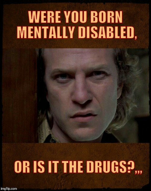 Buffalo Bill, Are you serious?,,, | WERE YOU BORN MENTALLY DISABLED, OR IS IT THE DRUGS?,,, | image tagged in buffalo bill,are you serious | made w/ Imgflip meme maker