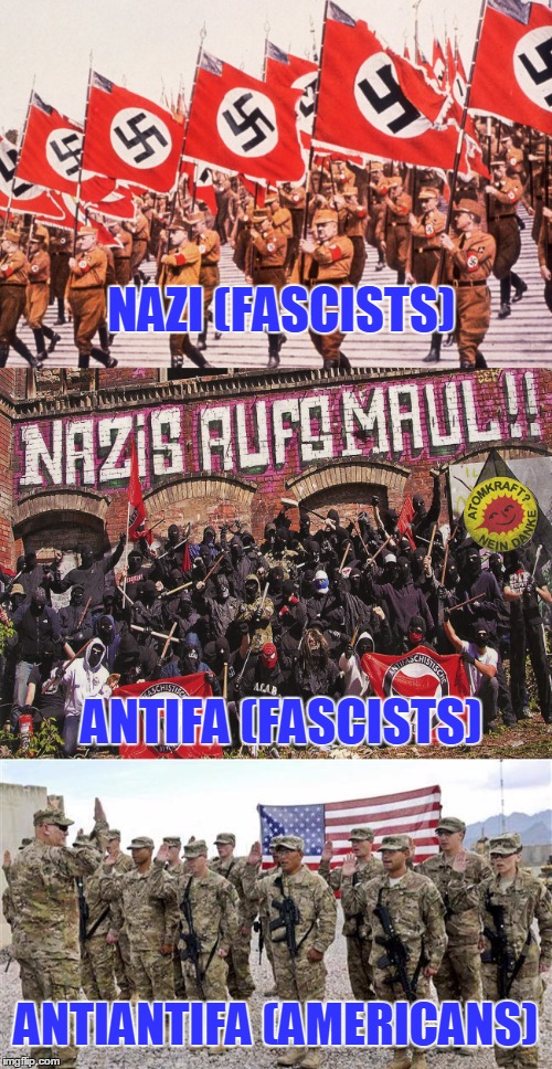Any Questions? | NAZI (FASCISTS) ANTIFA (FASCISTS) ANTIANTIFA (AMERICANS) | image tagged in fa,antifa,antiantifa | made w/ Imgflip meme maker