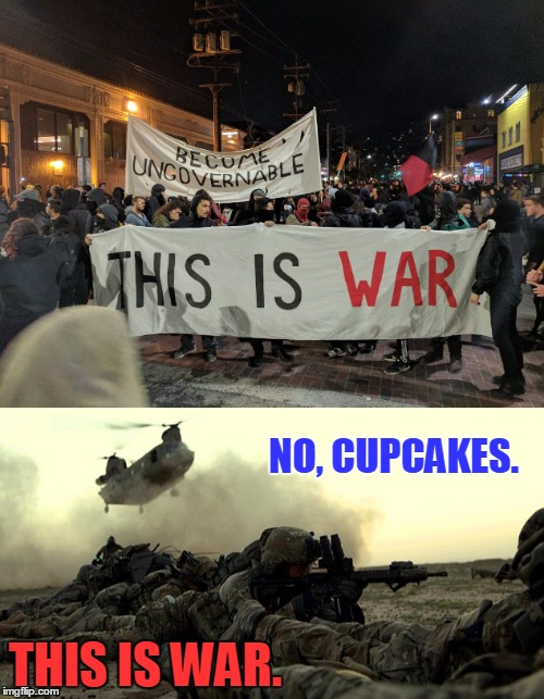Get Off Your X-Box, Snowflakes. | NO, CUPCAKES. THIS IS WAR. | image tagged in liberals,x-box,war | made w/ Imgflip meme maker