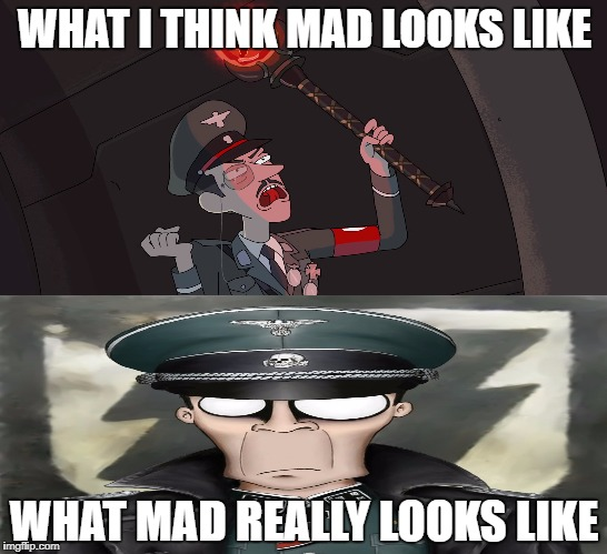 Comparing my view to his view | WHAT I THINK MAD LOOKS LIKE WHAT MAD REALLY LOOKS LIKE | image tagged in nazis,rick and morty,ss officer,madconman | made w/ Imgflip meme maker