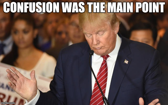 Trump Drops Ball | CONFUSION WAS THE MAIN POINT | image tagged in trump drops ball | made w/ Imgflip meme maker