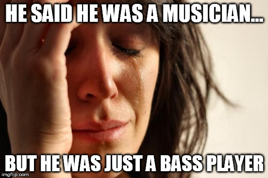 First World Problems Meme | HE SAID HE WAS A MUSICIAN... BUT HE WAS JUST A BASS PLAYER | image tagged in memes,first world problems | made w/ Imgflip meme maker