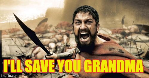 Sparta Leonidas Meme | I'LL SAVE YOU GRANDMA | image tagged in memes,sparta leonidas | made w/ Imgflip meme maker