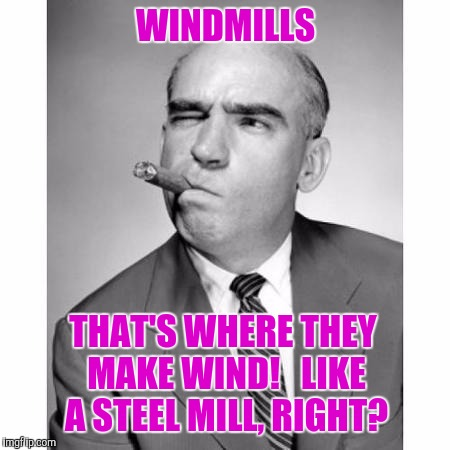 The (Union) Thinker | WINDMILLS THAT'S WHERE THEY MAKE WIND!   LIKE A STEEL MILL, RIGHT? | image tagged in memes,funny,thinking,think | made w/ Imgflip meme maker