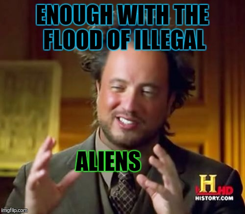 Aggravating Aliens :D | ENOUGH WITH THE FLOOD OF ILLEGAL ALIENS | image tagged in funny,politics,ancient aliens,humor,memes,illegal immigration | made w/ Imgflip meme maker