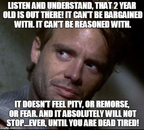 LISTEN AND UNDERSTAND, THAT 2 YEAR OLD IS OUT THERE! IT CAN'T BE BARGAINED WITH. IT CAN'T BE REASONED WITH. IT DOESN'T FEEL PITY, OR REMORSE | image tagged in kyle reese | made w/ Imgflip meme maker