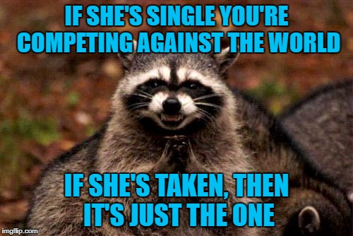 Sometimes that one will make it easy for you! | IF SHE'S SINGLE YOU'RE COMPETING AGAINST THE WORLD IF SHE'S TAKEN, THEN IT'S JUST THE ONE | image tagged in memes,evil plotting raccoon,dating,funny,competition,get some | made w/ Imgflip meme maker