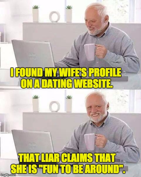 "Hide the Pain Harold Meme | I FOUND MY WIFE'S PROFILE ON A DATING WEBSITE. THAT LIAR CLAIMS THAT SHE IS ""FUN TO BE AROUND"". 