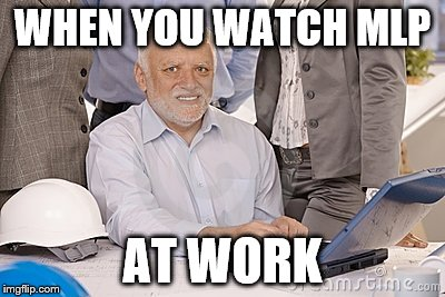 Harold's extreme internal pain | WHEN YOU WATCH MLP AT WORK | image tagged in harold's extreme internal pain | made w/ Imgflip meme maker