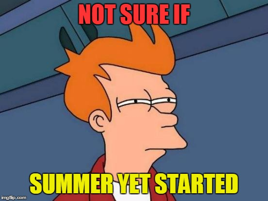 Futurama Fry Meme | NOT SURE IF SUMMER YET STARTED | image tagged in memes,futurama fry | made w/ Imgflip meme maker