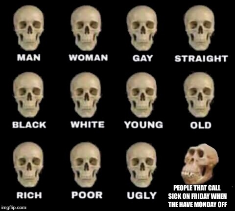 idiot skull | PEOPLE THAT CALL SICK ON FRIDAY WHEN THE HAVE MONDAY OFF | image tagged in idiot skull | made w/ Imgflip meme maker