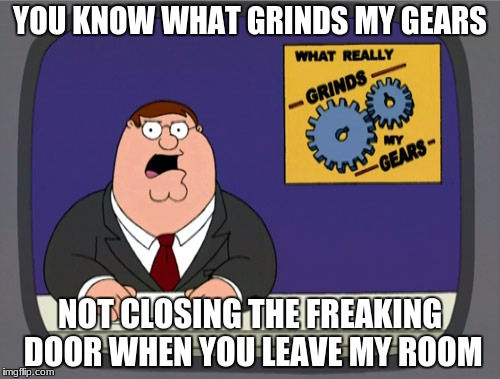 Peter Griffin News Meme | YOU KNOW WHAT GRINDS MY GEARS NOT CLOSING THE FREAKING DOOR WHEN YOU LEAVE MY ROOM | image tagged in memes,peter griffin news | made w/ Imgflip meme maker
