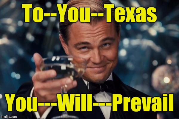 Leonardo Dicaprio Cheers Meme | To--You--Texas You---Will---Prevail | image tagged in memes,leonardo dicaprio cheers | made w/ Imgflip meme maker