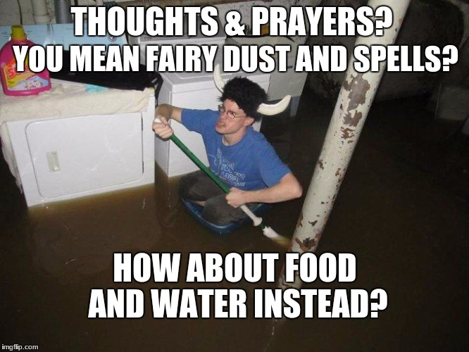 Laundry Viking Meme | THOUGHTS & PRAYERS? HOW ABOUT FOOD AND WATER INSTEAD? YOU MEAN FAIRY DUST AND SPELLS? | image tagged in memes,laundry viking | made w/ Imgflip meme maker