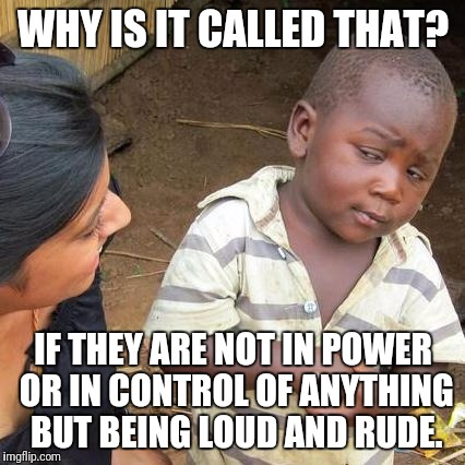 White supremacy | WHY IS IT CALLED THAT? IF THEY ARE NOT IN POWER OR IN CONTROL OF ANYTHING BUT BEING LOUD AND RUDE. | image tagged in memes,third world skeptical kid,white supremacy,political meme | made w/ Imgflip meme maker