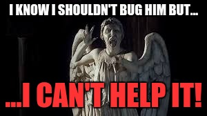 But I Can't Help It! | I KNOW I SHOULDN'T BUG HIM BUT... ...I CAN'T HELP IT! | image tagged in but i can't help it | made w/ Imgflip meme maker