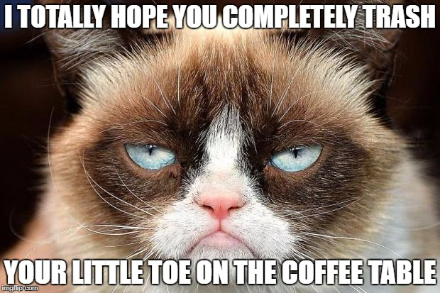 Grumpy Cat Not Amused | I TOTALLY HOPE YOU COMPLETELY TRASH YOUR LITTLE TOE ON THE COFFEE TABLE | image tagged in memes,grumpy cat not amused,grumpy cat | made w/ Imgflip meme maker