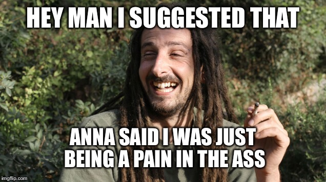 HEY MAN I SUGGESTED THAT ANNA SAID I WAS JUST BEING A PAIN IN THE ASS | made w/ Imgflip meme maker