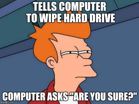 "Futurama Fry Meme | TELLS COMPUTER TO WIPE HARD DRIVE COMPUTER ASKS ""ARE YOU SURE?"" 