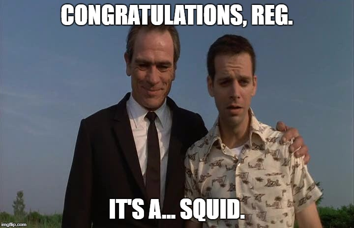 CONGRATULATIONS, REG. IT'S A... SQUID. | image tagged in congratulations reg,AdviceAnimals | made w/ Imgflip meme maker