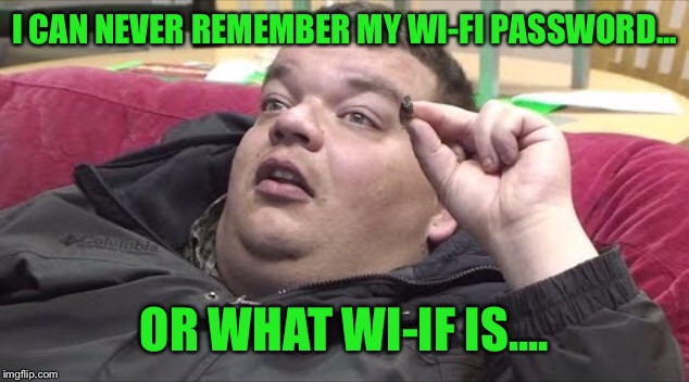 I CAN NEVER REMEMBER MY WI-FI PASSWORD... OR WHAT WI-IF IS.... | made w/ Imgflip meme maker