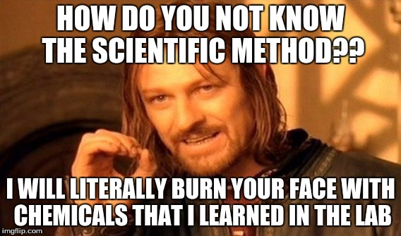 One Does Not Simply Meme | HOW DO YOU NOT KNOW THE SCIENTIFIC METHOD?? I WILL LITERALLY BURN YOUR FACE WITH CHEMICALS THAT I LEARNED IN THE LAB | image tagged in memes,one does not simply | made w/ Imgflip meme maker