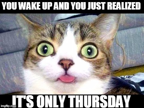 It's only Thursday | YOU WAKE UP AND YOU JUST REALIZED IT'S ONLY THURSDAY | image tagged in thursday | made w/ Imgflip meme maker