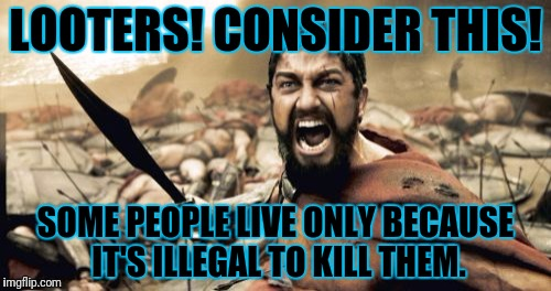 Sparta Leonidas Meme | LOOTERS! CONSIDER THIS! SOME PEOPLE LIVE ONLY BECAUSE IT'S ILLEGAL TO KILL THEM. | image tagged in memes,sparta leonidas | made w/ Imgflip meme maker
