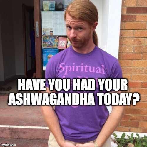 JP Sears. The Spiritual Guy | HAVE YOU HAD YOUR ASHWAGANDHA TODAY? | image tagged in jp sears the spiritual guy,ashwagandha,herbs | made w/ Imgflip meme maker