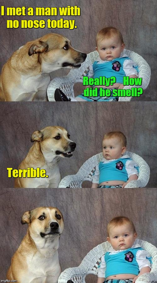 Double-entendre Dad Joke Dog | I met a man with no nose today. Terrible. Really?    How did he smell? | image tagged in memes,dad joke dog | made w/ Imgflip meme maker