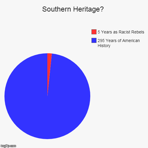 Southern Heritage? | 295 Years of American History, 5 Years as Racist Rebels | image tagged in funny,pie charts,southern pride,confederate flag,statues,politics | made w/ Imgflip chart maker
