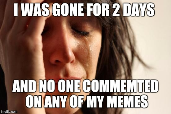 First World Problems Meme | I WAS GONE FOR 2 DAYS AND NO ONE COMMEMTED ON ANY OF MY MEMES | image tagged in memes,first world problems | made w/ Imgflip meme maker