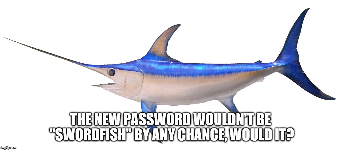 "THE NEW PASSWORD WOULDN'T BE ""SWORDFISH"" BY ANY CHANCE, WOULD IT? 