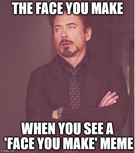 Face You Make | THE FACE YOU MAKE WHEN YOU SEE A 'FACE YOU MAKE' MEME | image tagged in memes,face you make robert downey jr | made w/ Imgflip meme maker