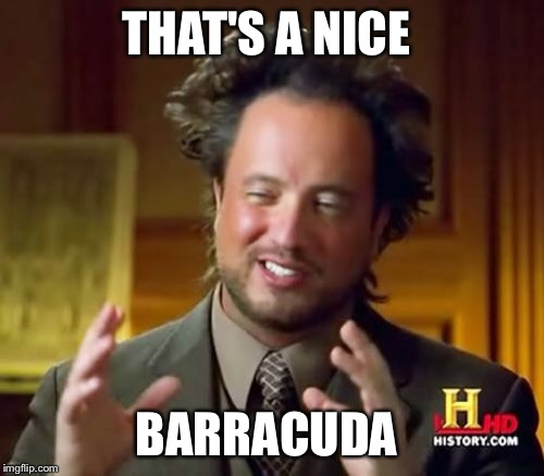Ancient Aliens Meme | THAT'S A NICE BARRACUDA | image tagged in memes,ancient aliens | made w/ Imgflip meme maker