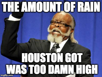 For real | THE AMOUNT OF RAIN HOUSTON GOT WAS TOO DAMN HIGH | image tagged in memes,too damn high,iwanttobebacon,iwanttobebaconcom,houston,hurricane harvey | made w/ Imgflip meme maker