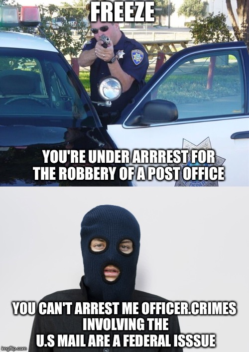 Liberal felon logic | FREEZE YOU'RE UNDER ARRREST FOR THE ROBBERY OF A POST OFFICE YOU CAN'T ARREST ME OFFICER.CRIMES INVOLVING THE U.S MAIL ARE A FEDERAL ISSSUE | image tagged in liberal logic | made w/ Imgflip meme maker