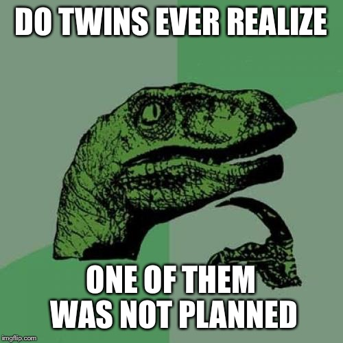 Philosoraptor Meme | DO TWINS EVER REALIZE ONE OF THEM WAS NOT PLANNED | image tagged in memes,philosoraptor | made w/ Imgflip meme maker